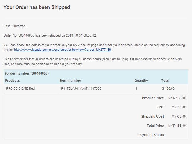Lazada Shipped Order