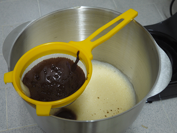 sieve the cocoa mixture into the beaten eggs and mix well