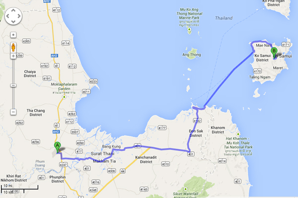 How to go Koh Samui from Surat Thani Airport Google Map