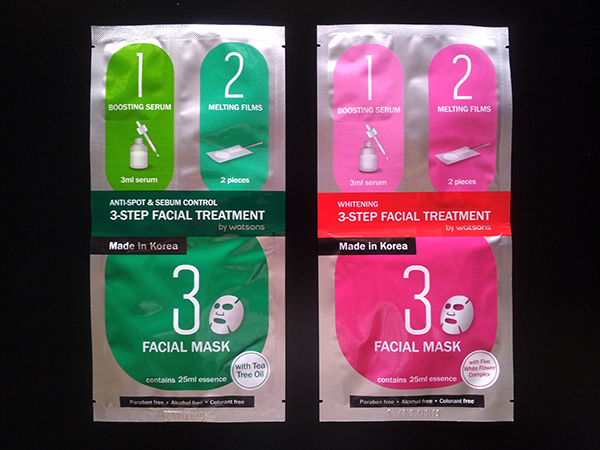 Watsons 3-Step Facial Treatment: Boosting Serum, Melting Films and Facial Mask